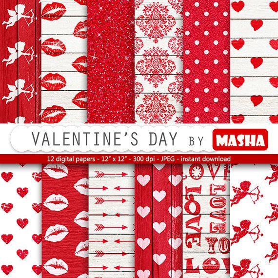 Love digital paper: Valentine's day with heart por MashaStudio