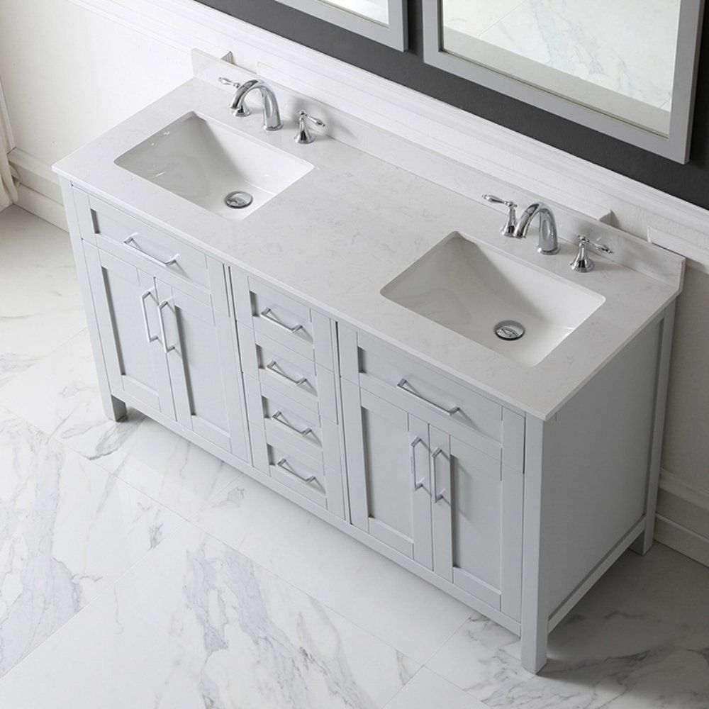 Ove Decors Tahoe 60g Marble Top Bathroom Double Sink Vanity 60