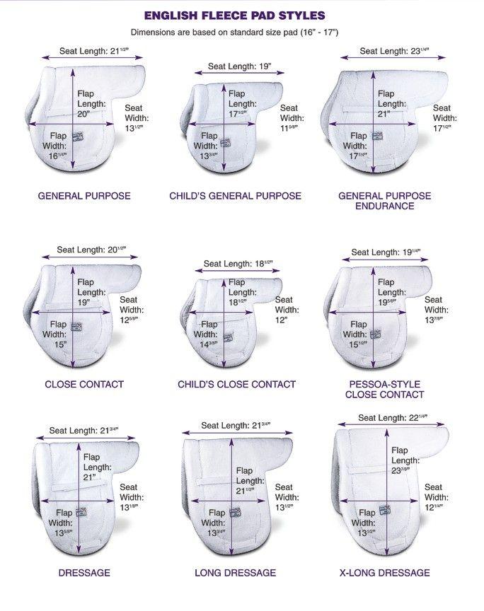 English saddle pad sizing chart also sewing pads pinterest rh