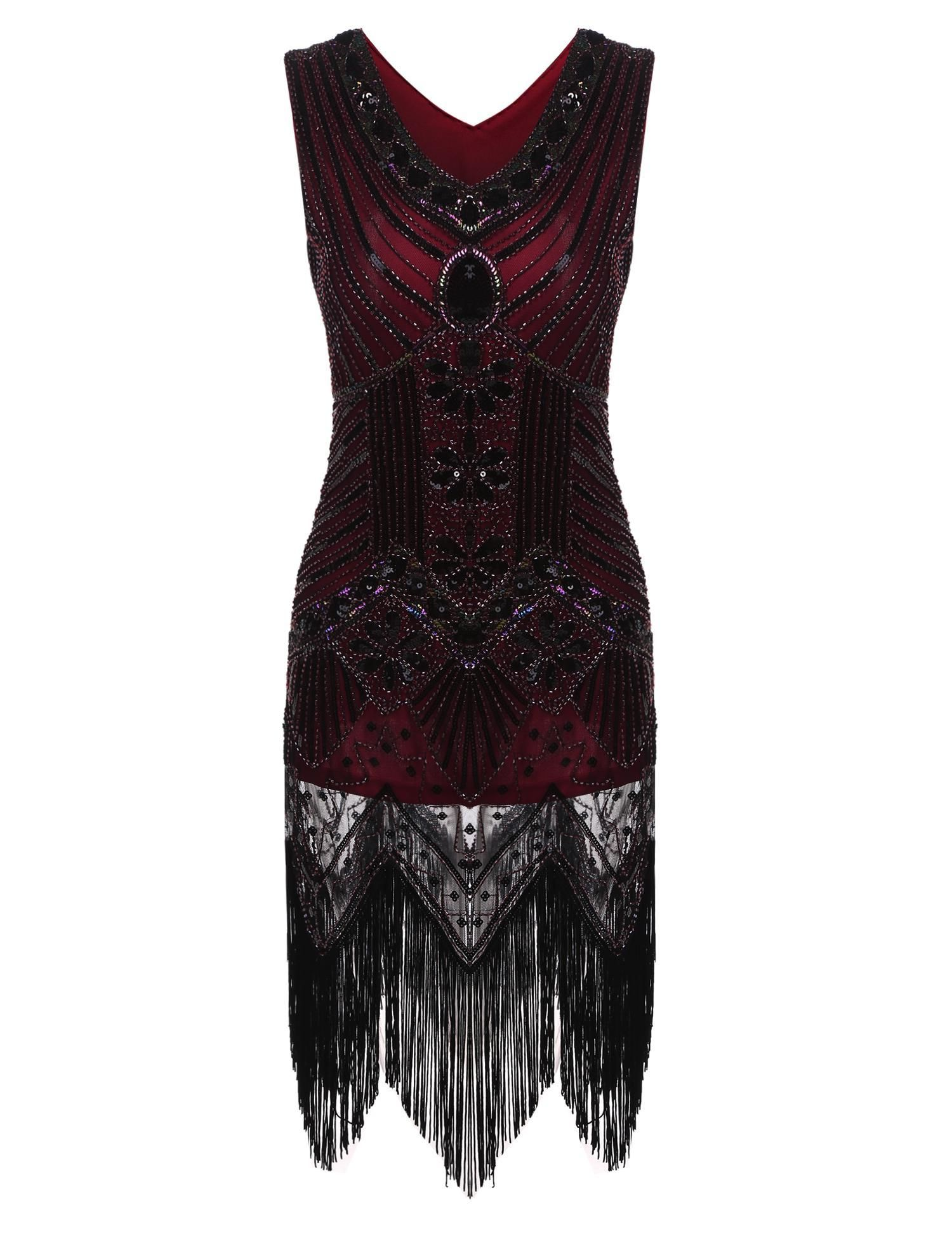Wine red vintage s style package hip tassel sequined flapper