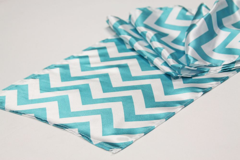 chevron satin table runner         you need to order 6 of these