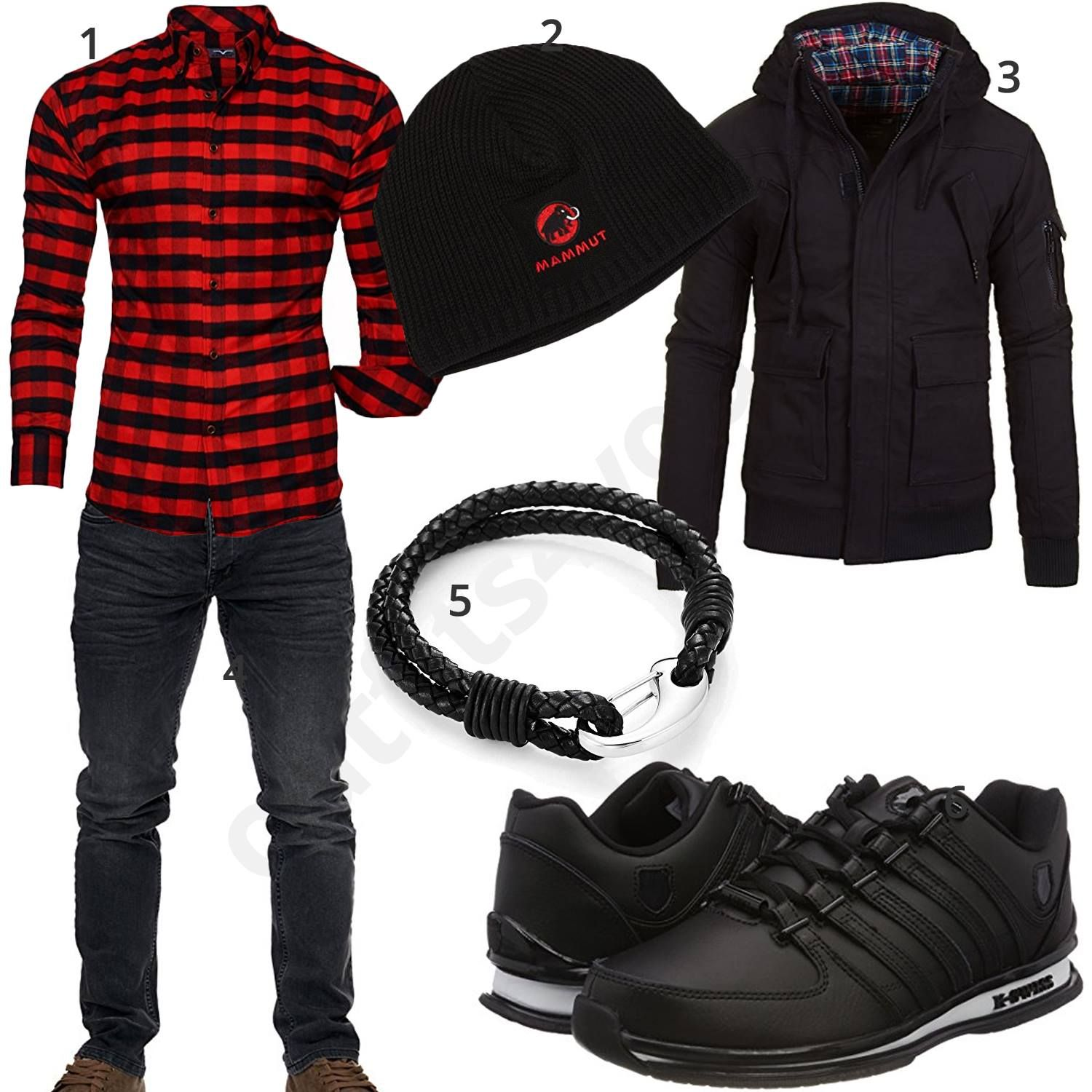 new product 89237 3d4be Schwarz-Rotes Herrenoutfit mit Hemd, Jacke und Jeans   Moda ...