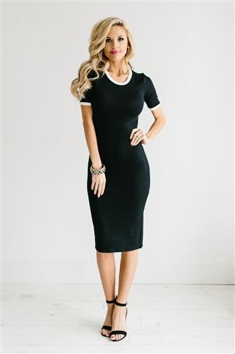 Super cute, solid black pencil dress. Slips on. Final Sale! May only be returned for Store Credit.