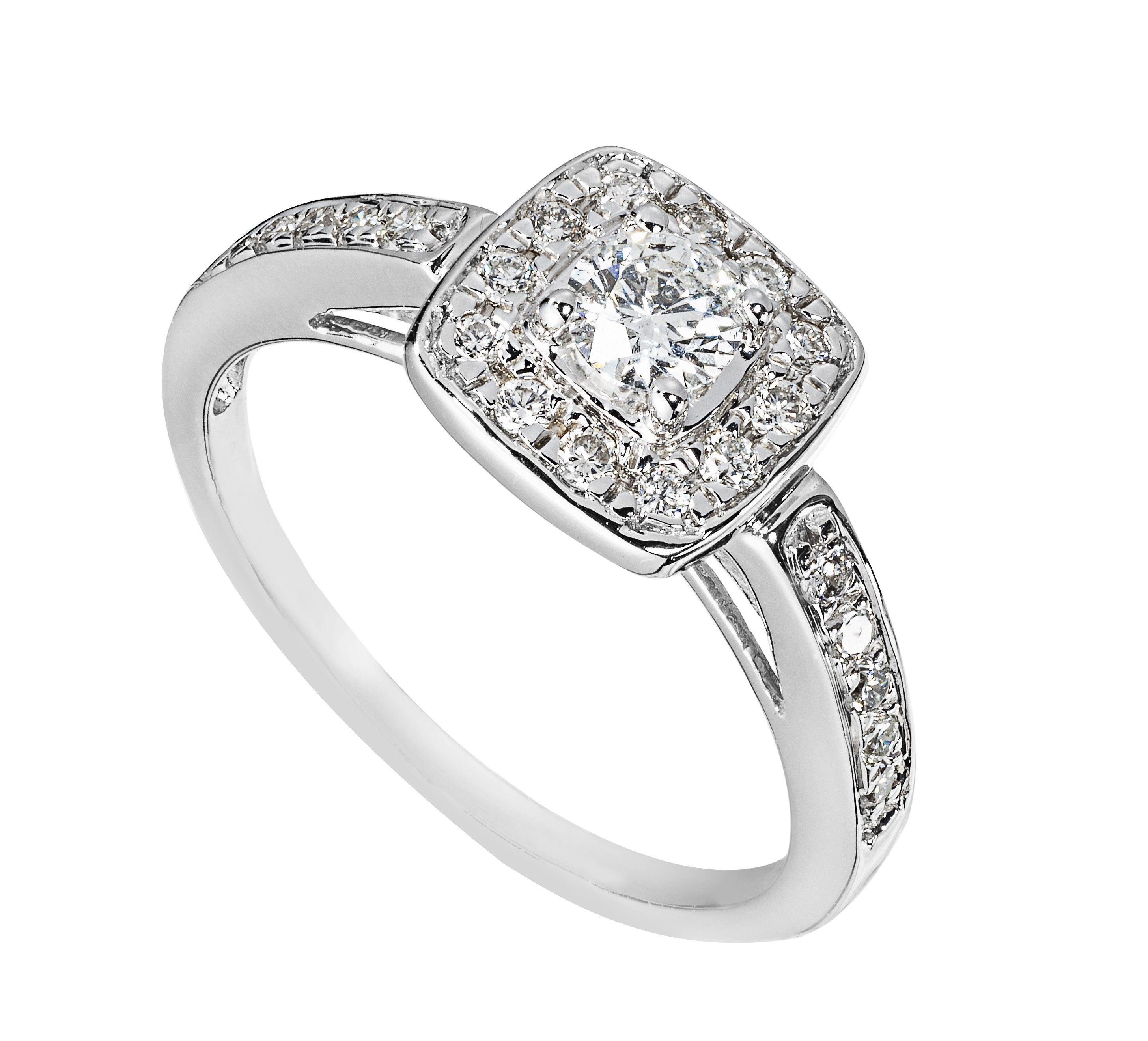 9ct White Gold 050 Carat Diamond Halo Ring