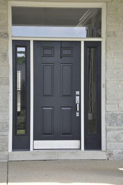 Simple black front door with glass surround | Elegant ...