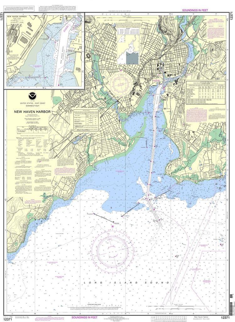 NOAA Nautical Chart 12371: New Haven Harbor;New Haven Harbor (Inset ...