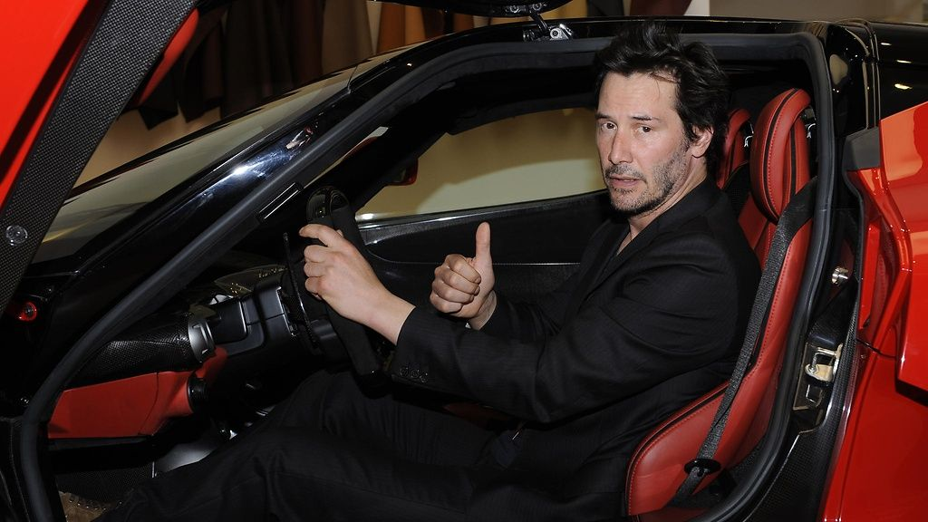 2015 June 20th  Keanu Reeves test drives the new Ferrari.  Copyright: @ Andrea MAZZI / www.studiomazzi.com.  Photo: Andrea MAZZI.