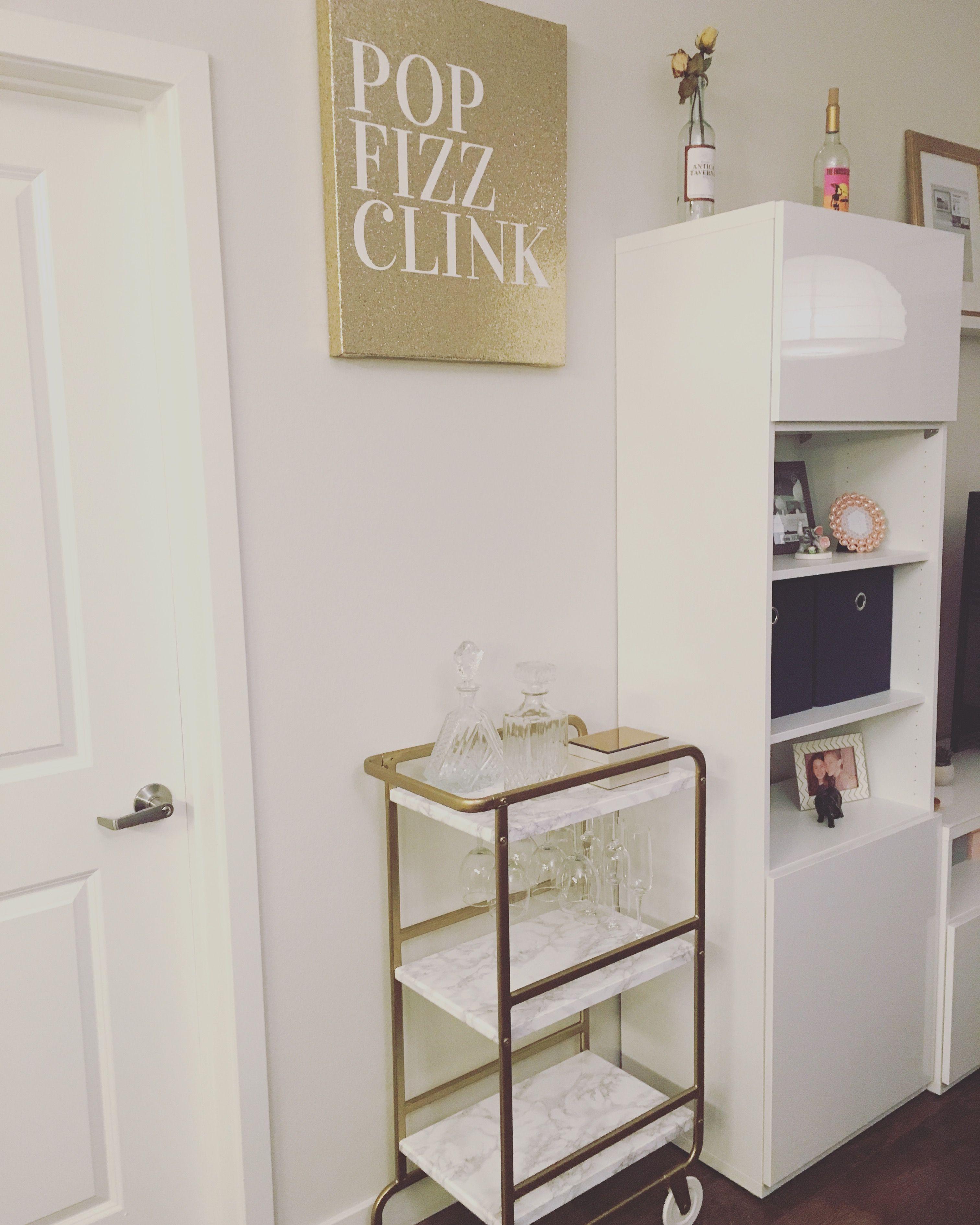 Gold bar cart made from Ikea Sunnersta | Apartment decor | Pinterest ...