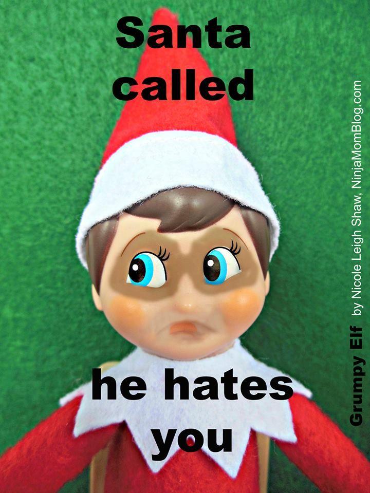 Grumpy Elf: Santa called. He hates you. meme via ...