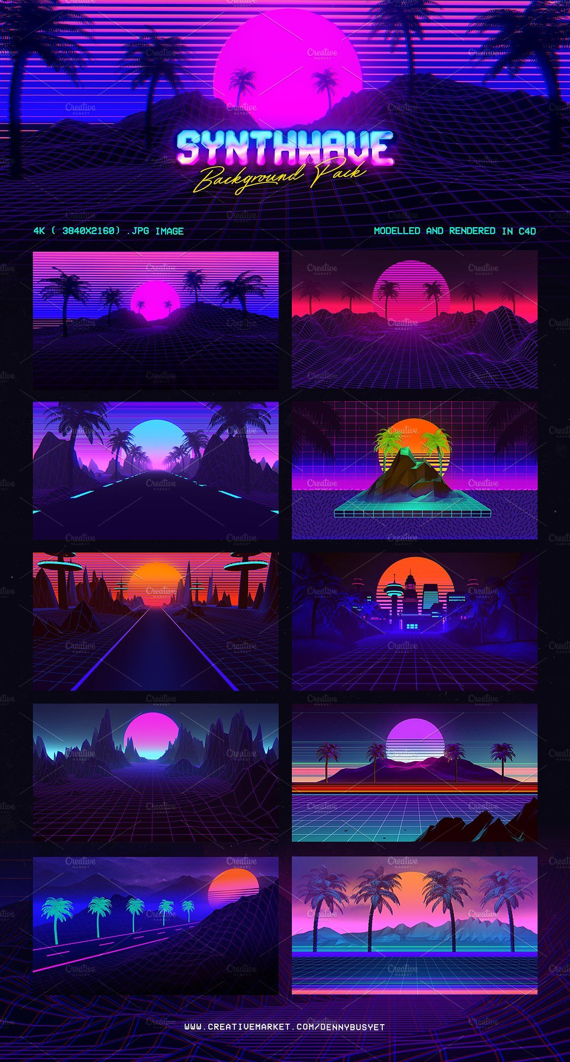 Synthwave Retrowave Background Pack Neon Design Synthwave Synthwave Art