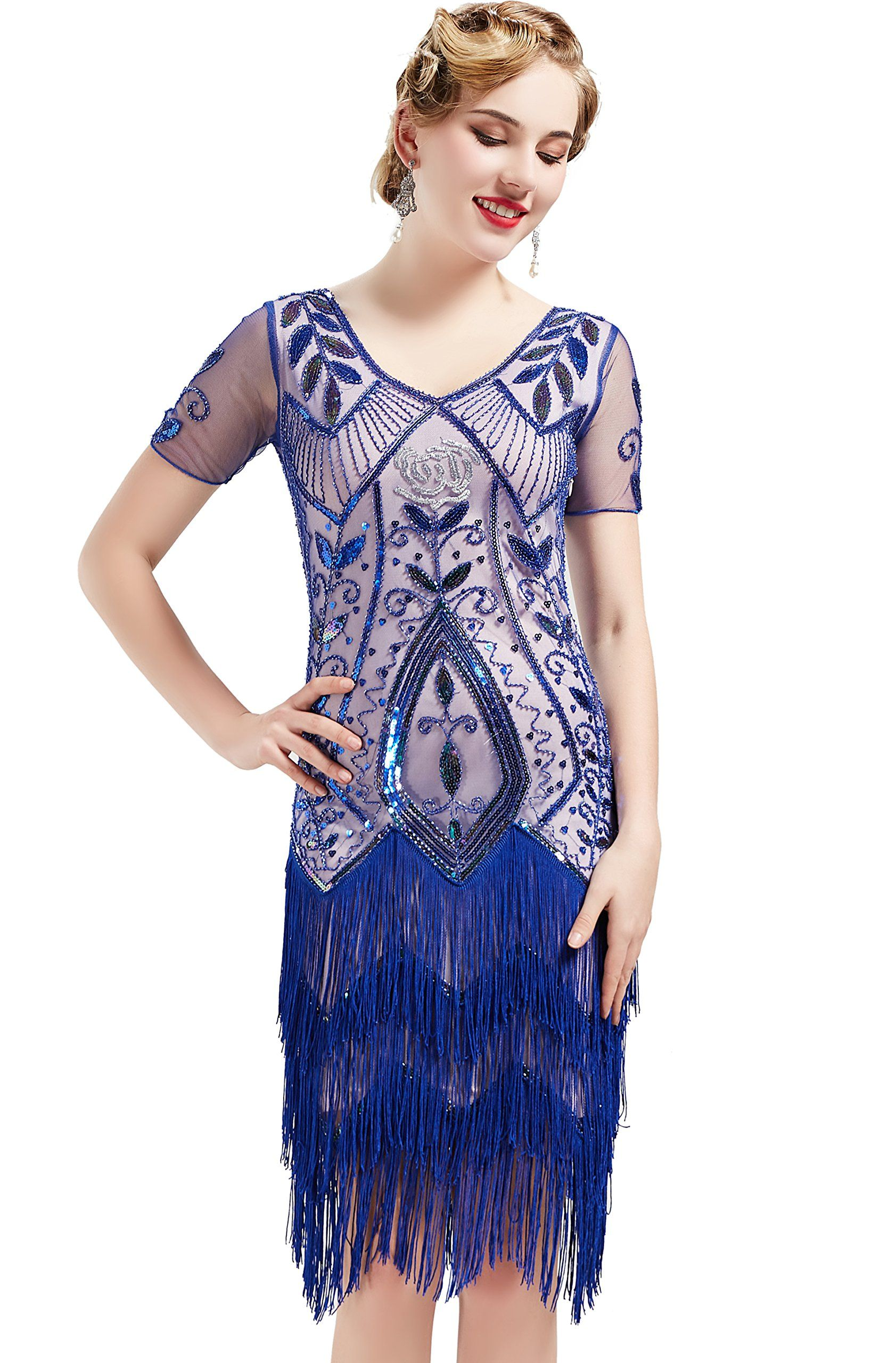 79723bf5c6 BABEYOND 1920s Art Deco Fringed Flapper Dress Roaring 20s Sequin Dress  Vintage Beaded Gatsby Costume Dress