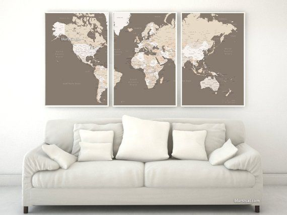 Printable Large World Map With Cities 3 Split Posters Of 20x30 Each
