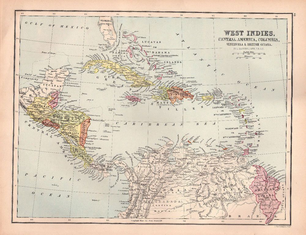 Map west indies antique 1880 central america original cuba bahamas map west indies antique 1880 central america original cuba bahamas caribbean gumiabroncs Images