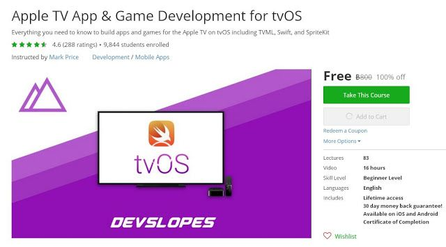 Coupon Udemy - Apple TV App & Game Development for tvOS (100