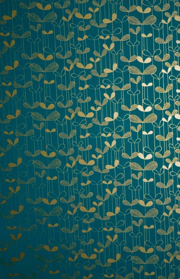 Saplings Turquoise wallpaper, Teal and gold wallpaper