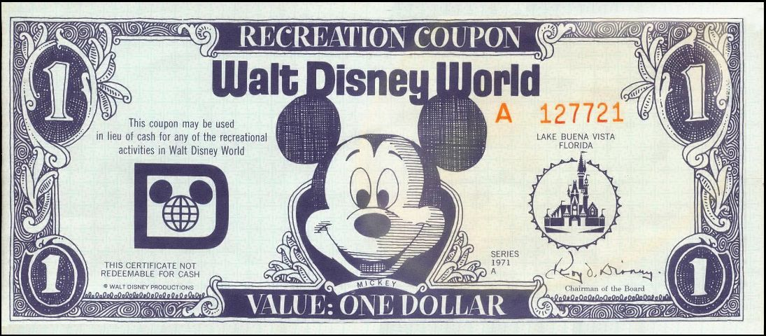 "A little bit of nostalgia..before ""Disney Dollars,"" there were ""Recreation Coupons"" This is a one dollar coupon from 1971!"