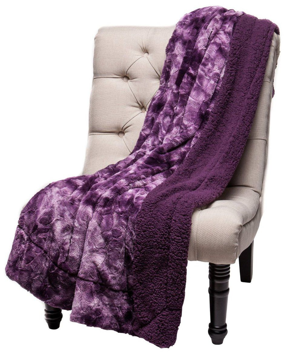 Chanasya Super Soft Fuzzy Fur Warm Aubergine Dark Purple Sherpa Throw Blanket A Purchase Corner Llc
