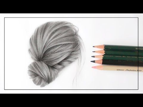 DRAWING A REALISTIC HAIR BUN UPDO WITH PENCILS I Hair drawing -   13 hair Drawing updo ideas