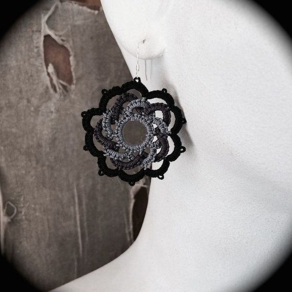 Hey, I found this really awesome Etsy listing at https://www.etsy.com/listing/192911412/tatted-lace-earrings-woven-rose-gray-and