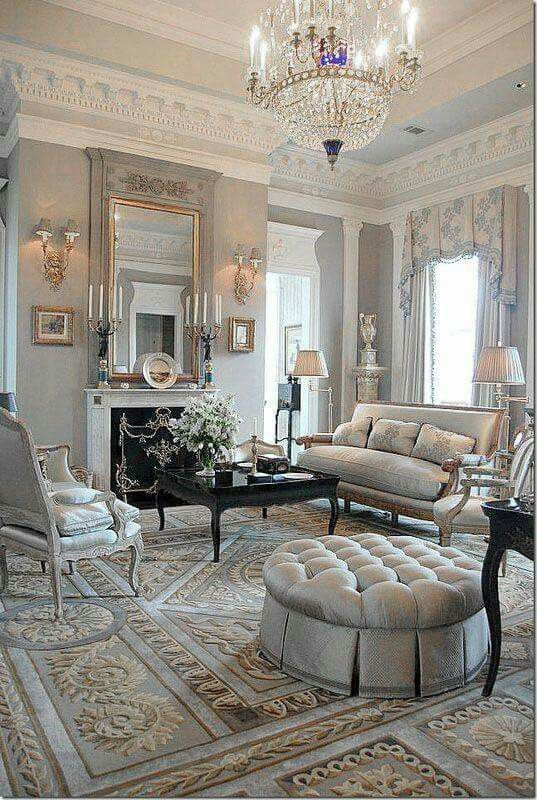 Best Blue Grey Gold Victorian French Country Living Room 400 x 300