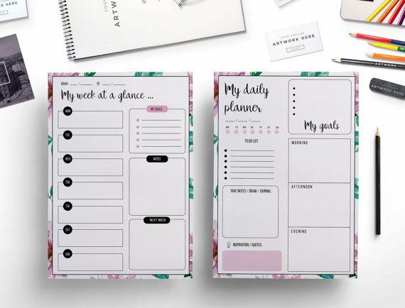 Elegant Daily Planner Weekly Planner Floral Theme Printable Planner Weekly Printable Daily Printable Weekly Planner Planner Weekly Planner Printable