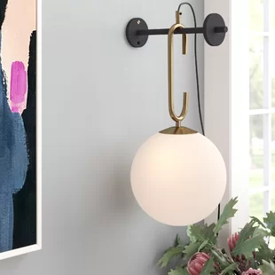 Ebern Designs Johnna Heater Shield Beacon Series Triangle 1 Light Plug In Corner Wall Light Wayfair In 2020 Plug In Wall Lights Wall Lights Sconces
