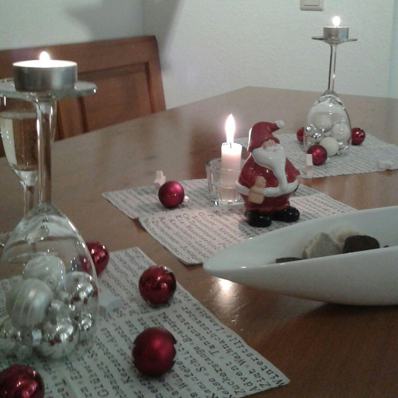 Weihnachten Tischdeko Weinglas Rot Weiss Nevena Pinterest