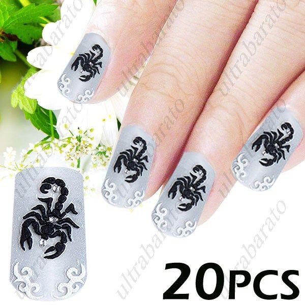 2 X Packs Of 3d Scorpion Pattern Style Diy Nail Art Decal Sticker