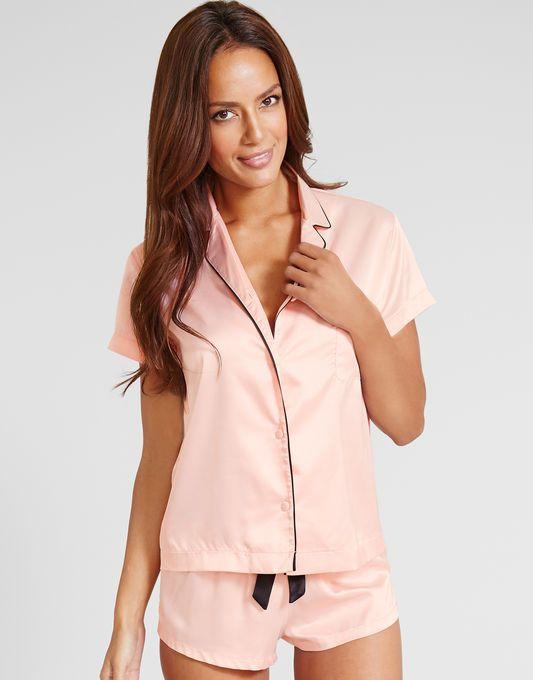 Abigail Satin Shirt And Short Set | Satin shirt, Short ...