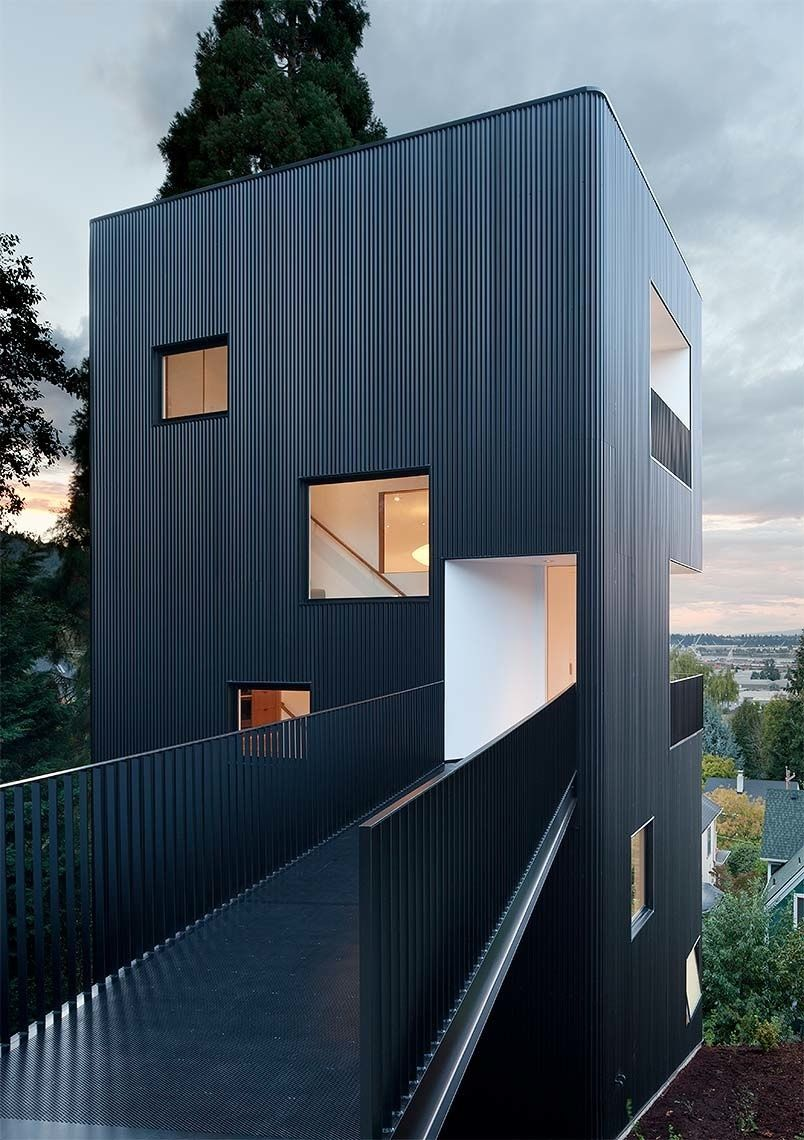 Four-Story House with Bridge Entry Path   Tower house, Tower and ...