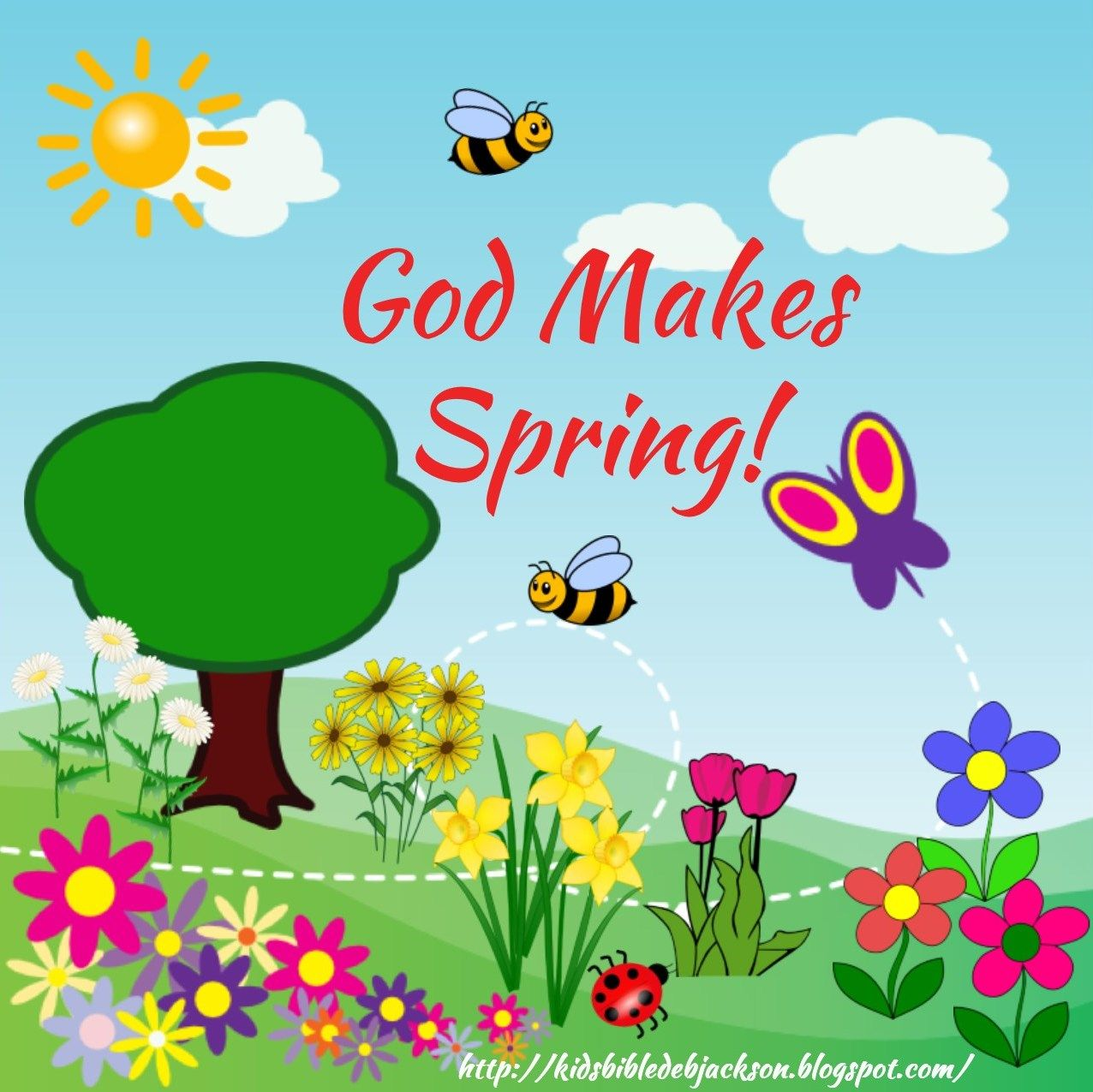 God Makes Spring with make your own bee & ladybug template & more ...