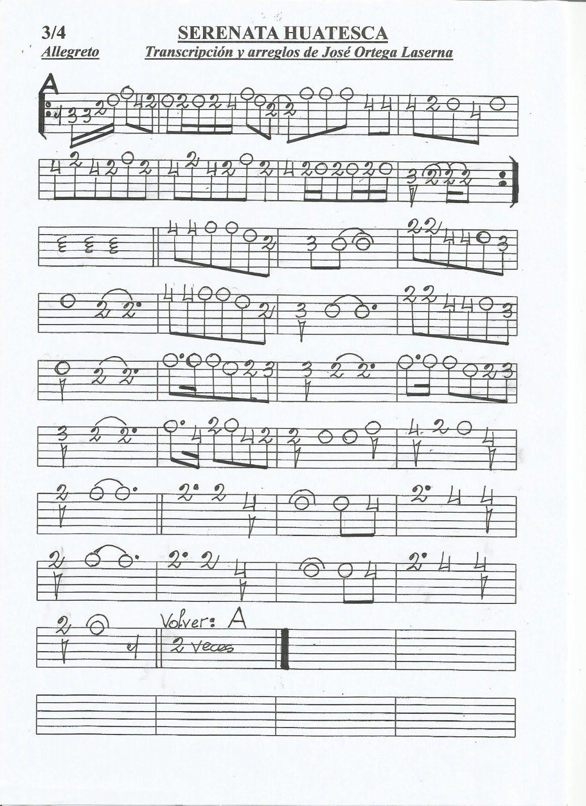 Partituras En Cifra Para Bandurria Y Laúd De José Ortega Laserna Serenata Huasteca Ranchera Partituras Tablaturas Guitarra Huasteca