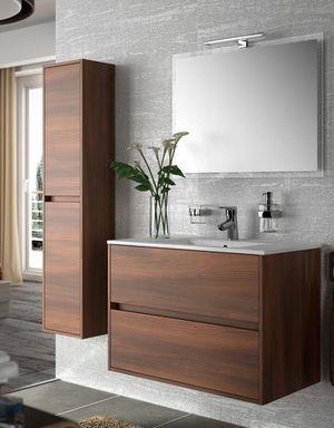 Meuble de salle de bain 80 cm noja schwan 800 avec 2 - Meuble vasque salle de bain brico depot ...