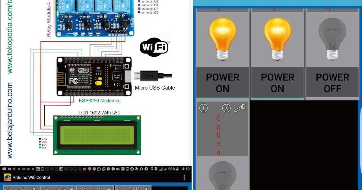 ESP8266 Nodemcu + LCD i2C : Control 4 Relay / Lampu dengan