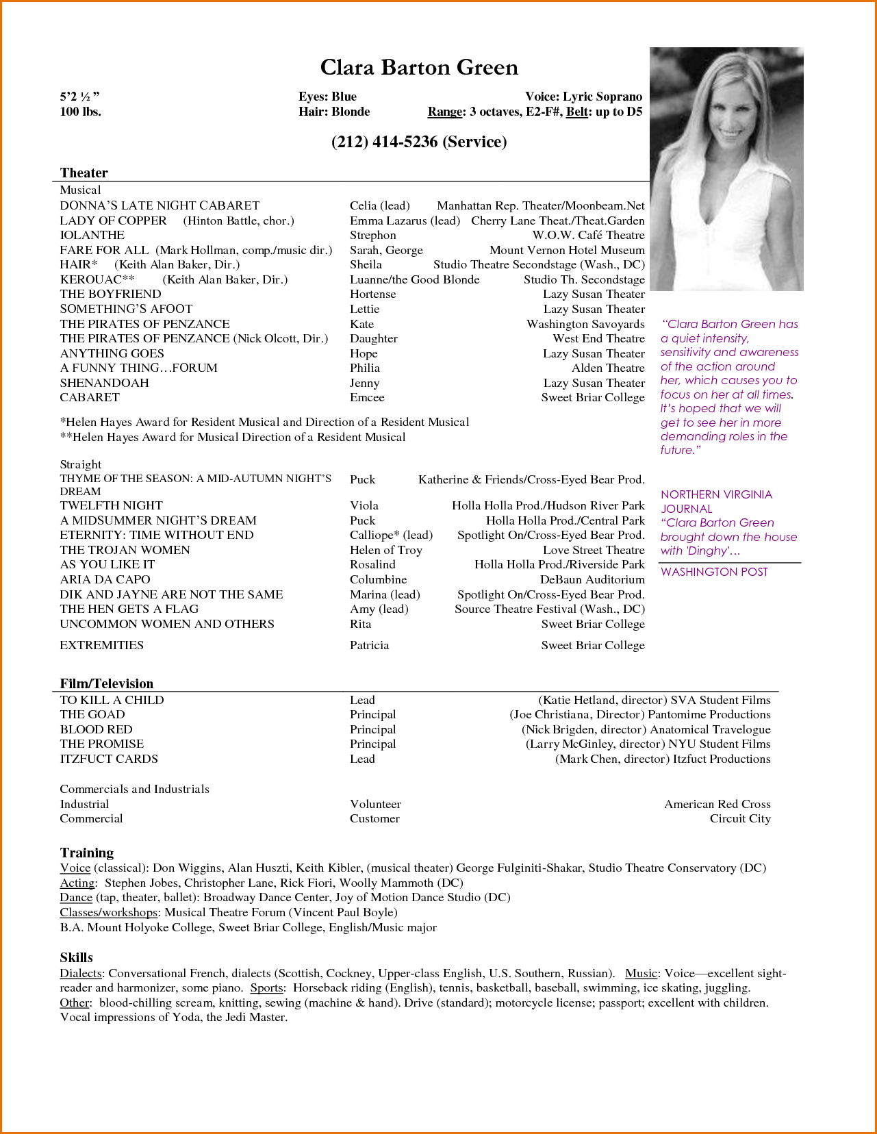 Resume Format Actor Resume Templates Acting Resume Acting Resume Template Resume Template