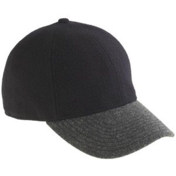 e07f220610a0b J. Crew Black Wool Baseball Cap Gray Brim Euc Accesorios