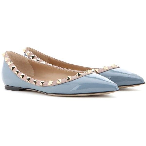 Shop Valentino Garavani Rockstud patent leather ballerinas presented at one  of the world's leading online stores for luxury fashion.