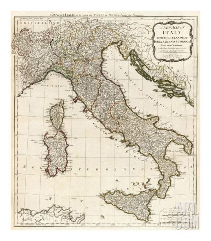 New Map of Italy with the Islands of Sicily, Sardinia and Corsica, c.1790 Art Print by Thomas Kitchin at Art.com
