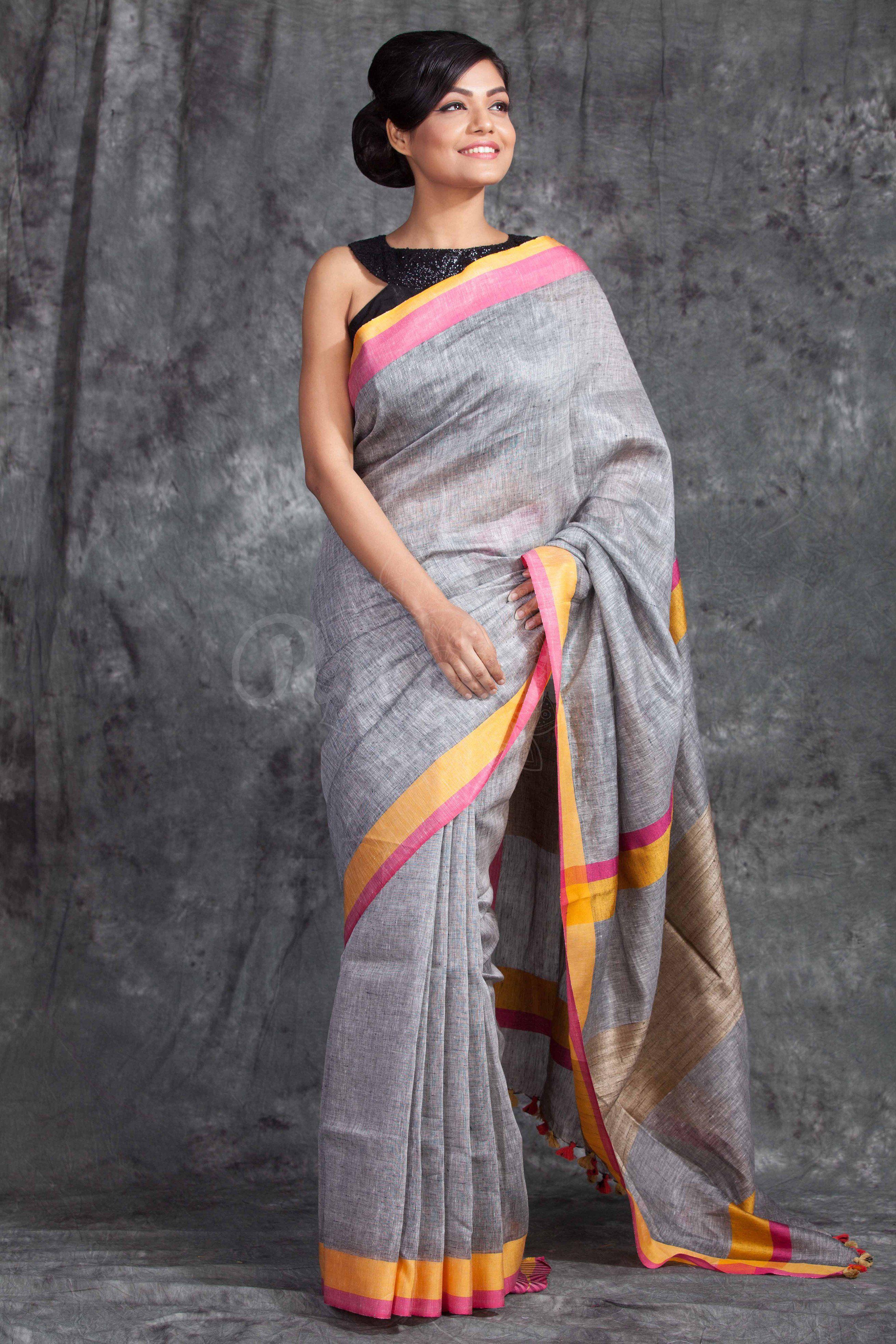 Yellow cotton saree for wedding imgg   sarees  grey  pinterest  saree and gray