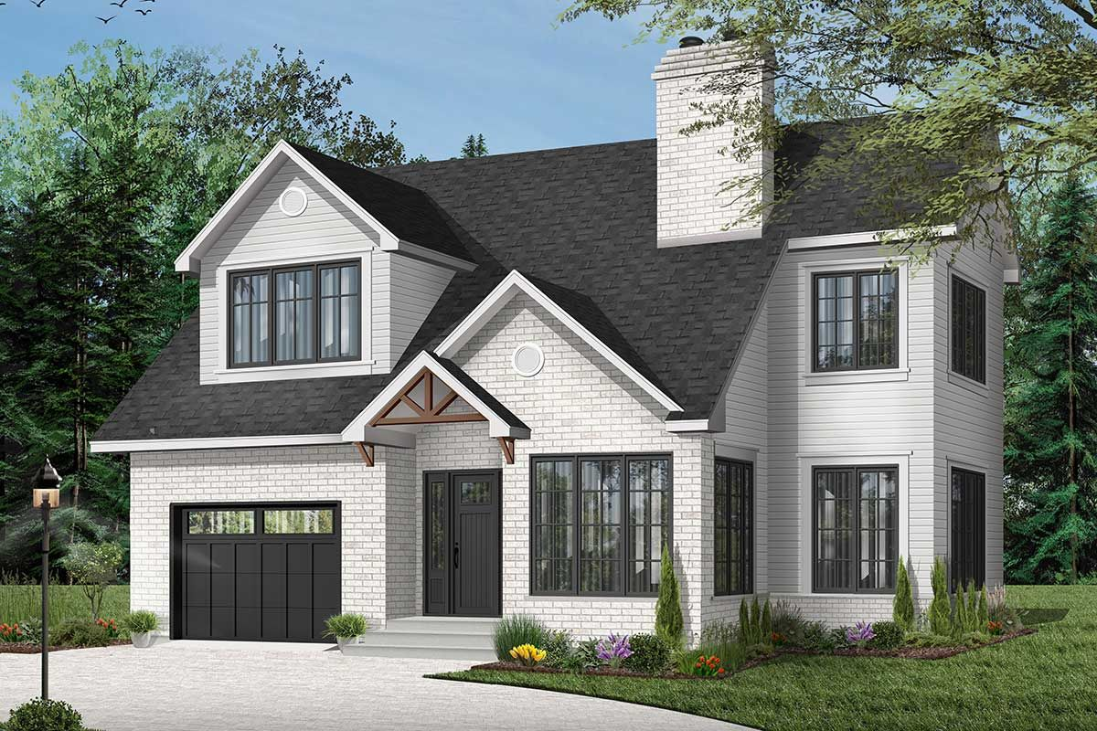 Plan 21061DR 2Story House Plan with Upstairs Bedrooms