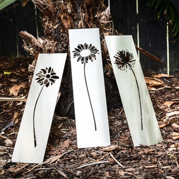 Stainless Steel Flower Tryptych A Fabulous Gift For A Gardener Or Just For Yourself A Set Of Three Depicting Sun Flo Steel Art Steel Flowers Steel Wall Art