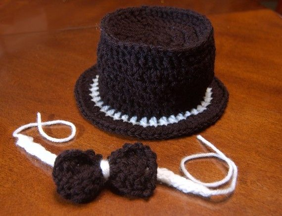 puttin on the ritz - crocheted top hat/bow tie