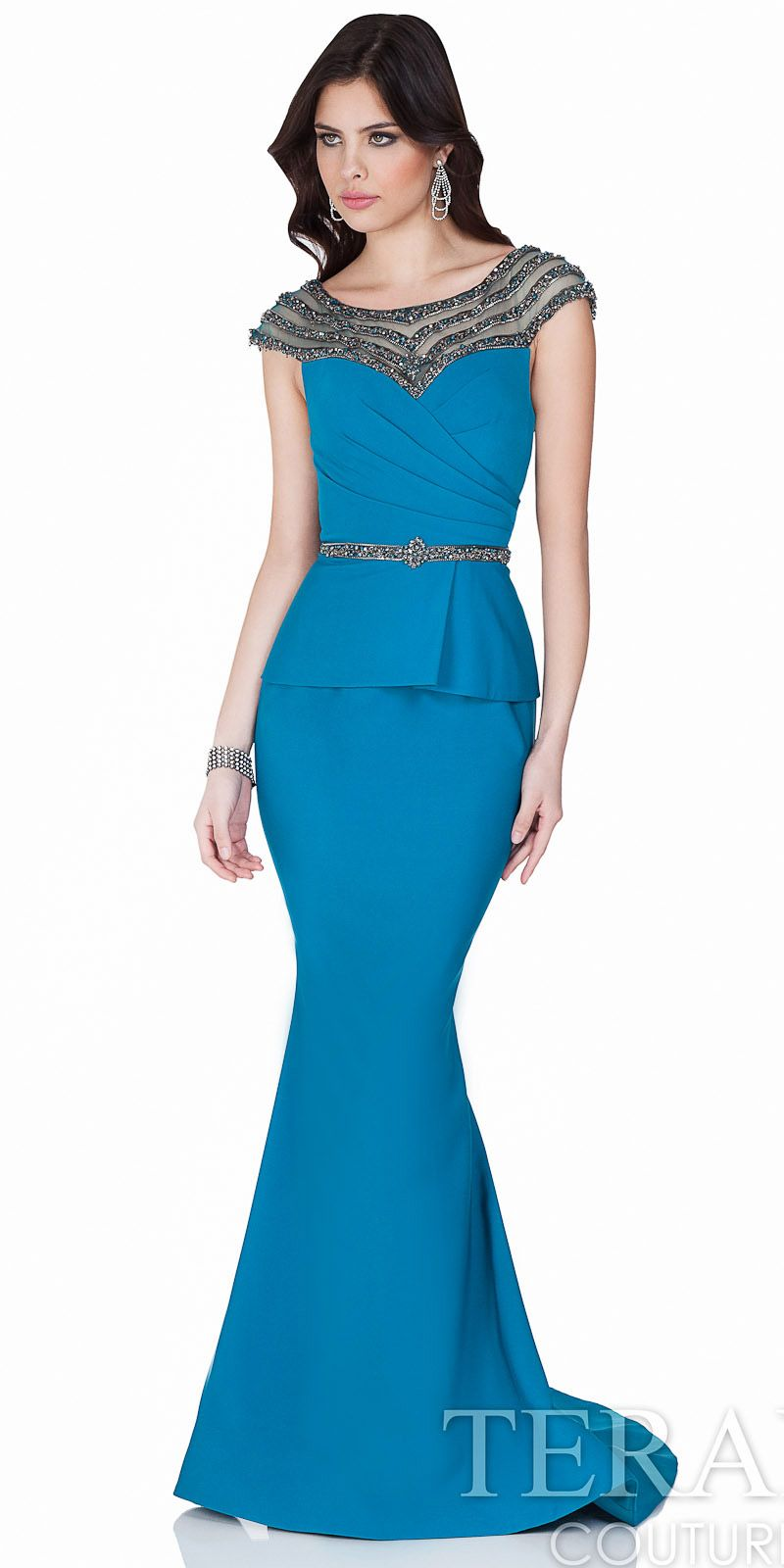 Peplum pleated beadwork evening gown by terani couture edressme