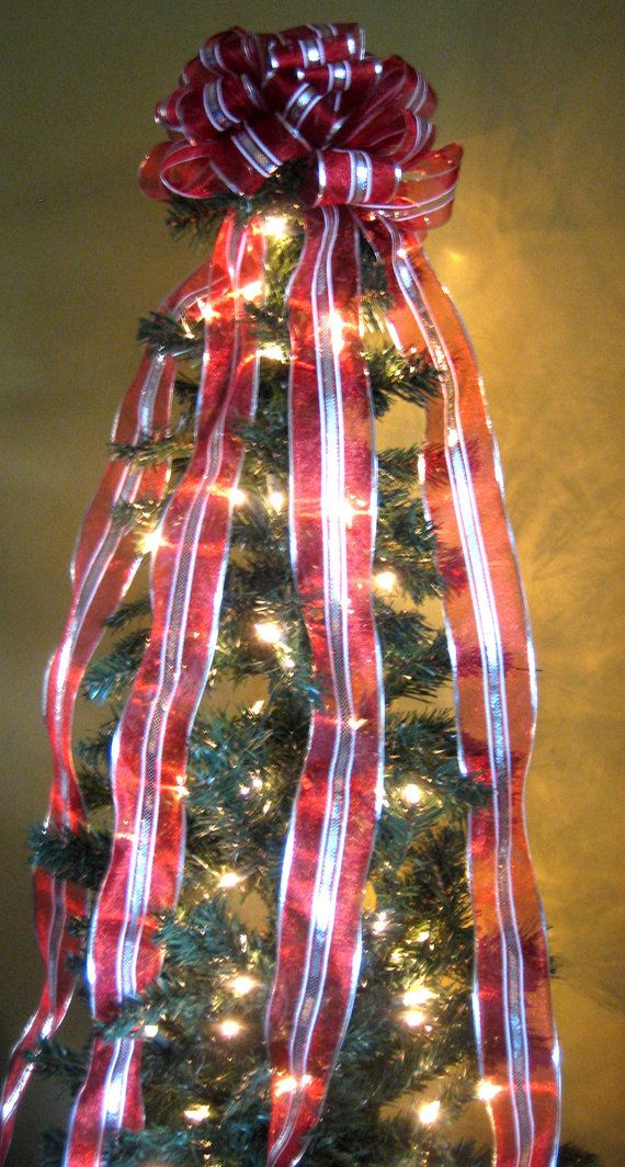 Red/Silver/White Christmas Tree Bow Topper by WeddingsAndWreaths ...