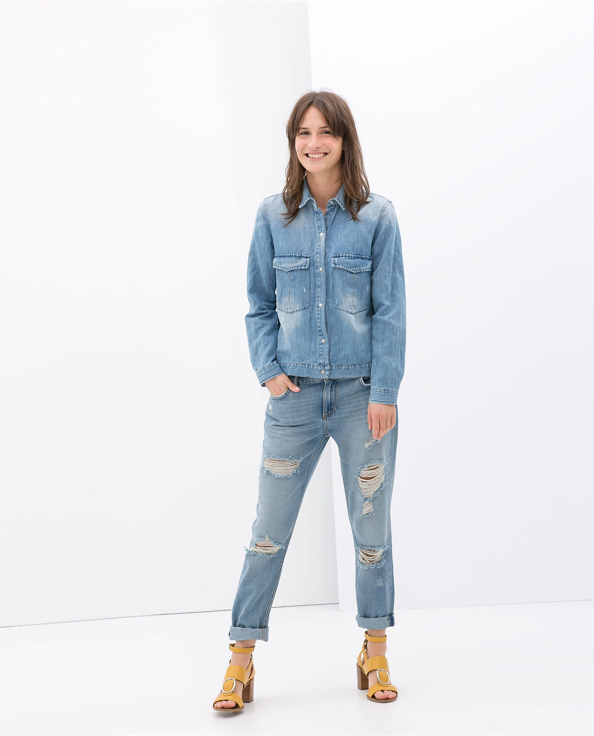 297fb7101f562 Image 1 of BOYFRIEND FIT RIPPED JEANS from Zara | Haven't Got A ...