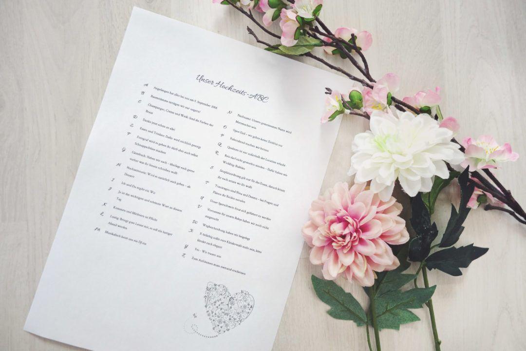 Hochzeits Abc Vorlage Fur Die Hochzeitsgaste Hochzeit Pinterest