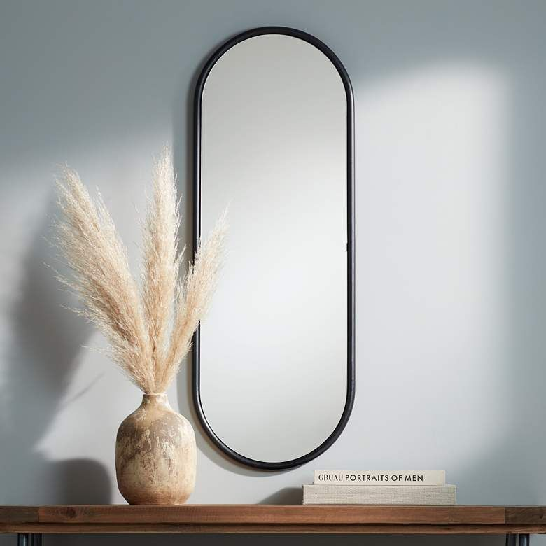 Sania 15 3 4 X 43 Wide Black Oval Wall Mirror 70t34 Lamps