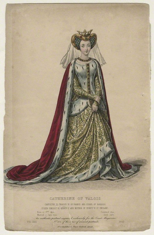 Katherine of Valois, by Edward Hargrave, after Unknown artist    Coloured line engraving, 1842