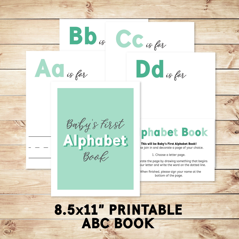 Alphabet Book Game Diy Baby Shower Activity Game 85x11 Babys