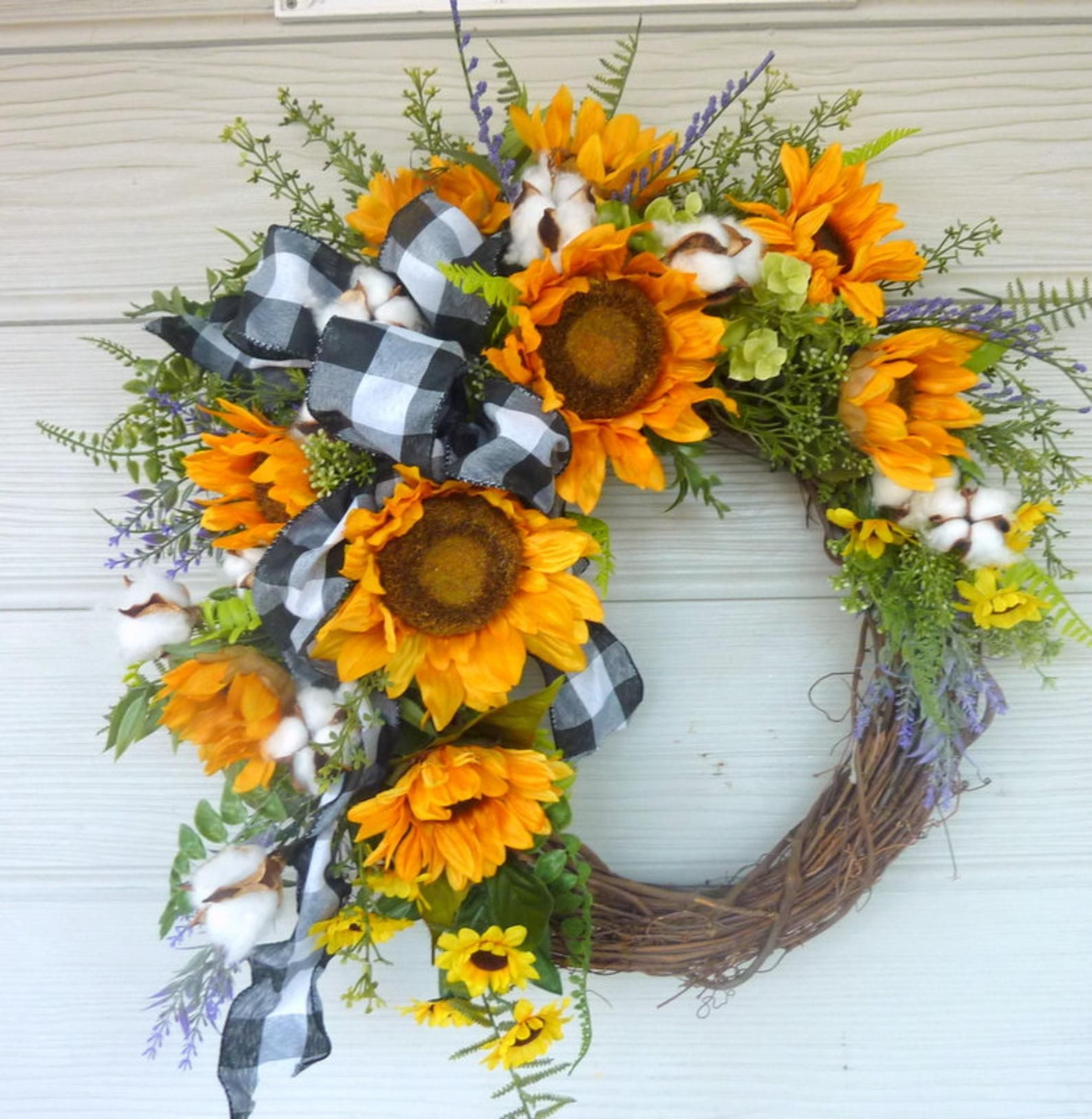 Photo of Sunflower Farmhouse wreaths, Spring / Summer wreath, Spring wreath for front door, front door wreath